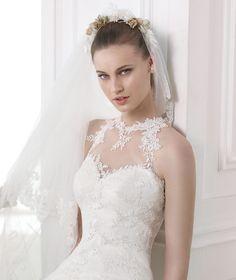 MANDISA - Draped wedding dress with halter neck. Collection 2015 MODERN BRIDE  | Pronovias