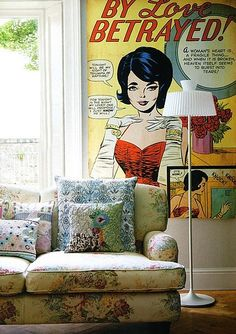 Decorating With Comics: Are you a comic book fan, or is there someone in your life who fits that description? Check out some big and little ways to express your comic book love in your home.: Banish boring bookshelves with these Comic Bookshelves (inquire for price) from Fusca Design. : Cover an entire wall in your home with this SurfaceView Mural.