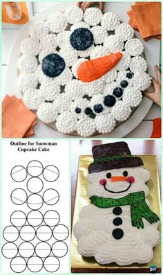 DIY Snowman Pull Apart Cupcake Cake Instruction Tutorial -DIY Pull Apart Christmas Cupcake Cake Design Ideas Source by For . Snowman Cake, Snowman Cupcakes, Diy Snowman, Ladybug Cupcakes, Kitty Cupcakes, Giant Cupcakes, Birthday Cupcakes, Birthday Fun, Snowman Party