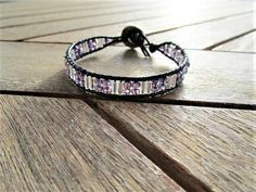 Leather wrap bracelet purple crystal beads bracelet silver