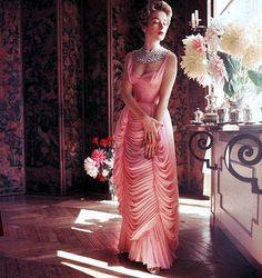 Draped chiffon gown, 1953