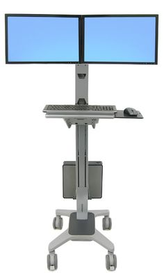 Medical Computer Carts | Hospital Computer Stands | Healthcare Computer Workstations | Medical Computer Wall Mounts — Catalog Products — Ergotron Neo-Flex Dual WideView WorkSpace 24-194-055