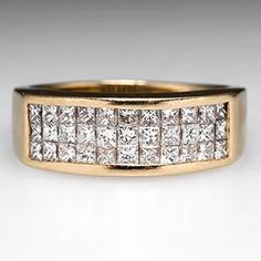 Mens Diamond Wedding Band Ring 14K Gold