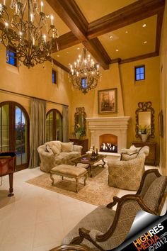 A grand living room.  Not my style of furniture, but it looks cosy.