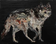 Night wolf, by Allison Schulnik.