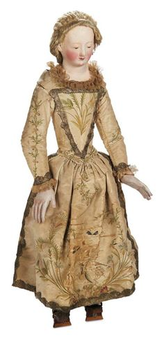 Large 18th Century German Papier-Mache Doll with Articulated Wooden Body