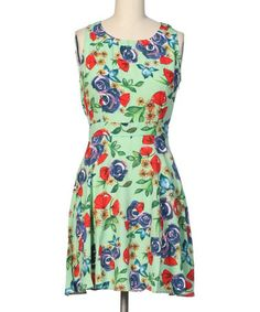 Look at this #zulilyfind! Mint Floral Sleeveless A-Line Dress by Hello Miss #zulilyfinds