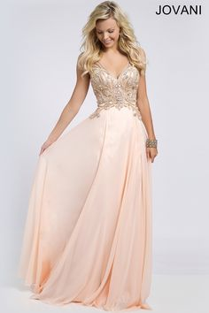 Jovani chiffon prom dress with beaded bodice