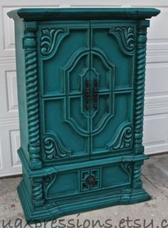 Painted Furniture •~• teal cabinet