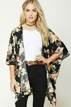 Forever 21 Contemporary - A woven kimono featuring an allover floral print, open-front, short dolman sleeves, and a draped silhouette. Kimono Outfit, Kimono Cardigan, Kimono Fashion, Love Fashion, Fashion Beauty, Girl Fashion, Plus Size Fashion, Fashion Outfits, Womens Fashion