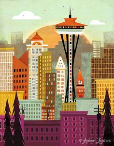 """Seattle may be known for clouds and rain but I am excited to share Seattle's colorful and happy side. """"Seattle"""", is a digital illustration created using Flash and Photoshop."""