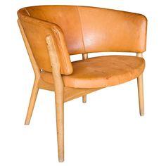 Denmark Nanna Ditzel for Knud Willadsen Danish oak & leather chair 1952. h26w30d26
