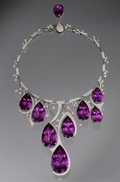 Amethyst Necklace designed by Ernesto Moreira -  on display in the  Gem Vault, The Houston Museum of Natural Science.   This platinum necklace contains 273.46 carats of amethyst and 13.21 carats of diamonds.