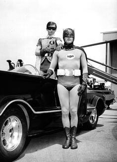 The originals, Batman, Robin, & of course the Batmobile. It's great to see that the Batmobile really never shows it's age. Batman Robin, Adam West Batman, Batman 1966, I Am Batman, Superman, Batman Tv Show, Batman Tv Series, Space Ghost, Ansel Adams