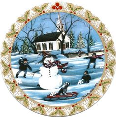 """Frosty Snowman"" by P Buckley Moss. Porcelain Ornament. Issued 1993. Diameter: 3-5/16 ins. Rare: $150. #canadagoosegallery #waynesvilleohio #pbuckleymoss #pbuckleymossart #pbuckleymosscollectibles #gifts #giftitems #porcelainornaments #porcelainchristmasornaments #christmasornaments #limitededitionornaments #limitededitioncollectibles #snowman #snow #winter church"