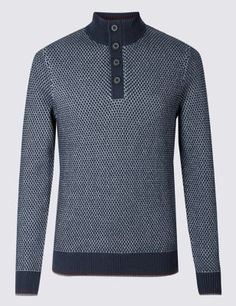 421935168d6a5e Half Zip Button Neck Jumper   Blue Harbour   M&S Cotton Texture, Jumper, Men