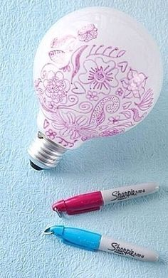 Draw patterns on a lift bulb and it will show up when you turn on the lights (: