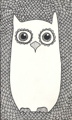 Drawing project idea: draw animal and fill in background with patterns. Study in positive / negative space. #illustration #owl