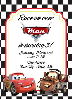 Cars Birthday Invitation with Lightening McQueen by NJAMDesigns