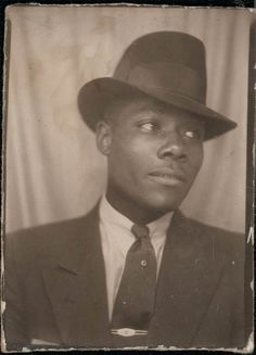 vintage photo photobooth photo booth Dashing HAndsome AFrican American man. $12.00, via Etsy.