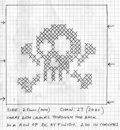 Free Crafty Crafty Pattern: Jolly Roger skull and crossbone potholder or placemat