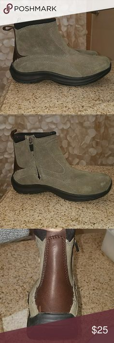 Land's End Suede boots sz 6 1/2 Women's size 6 1/2, Land's End brand suede short boots. Boots are a warm sage/taupe green with brown leather on back. Boots zip on inside and have no skid bottom. Boots have never been worn but do have a few marks on top of shoe as pictured from being  in my closet. Boots are very cute and could be worn bootie style with cuffed jeans. Lands' End Shoes Ankle Boots & Booties