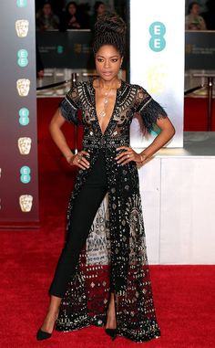 Naomie Harris from 2018 BAFTA Film Awards: Red Carpet Arrivals The actress wears an embellished jumpsuit. All Black Dresses, Red Carpet Dresses, Nice Dresses, Dress Over Pants, The Dress, Fashion 2018, Look Fashion, Mode Outfits, Fashion Outfits