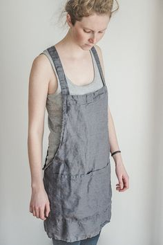 Grey short square cross linen apron/japanese style apron. Washed dark grey/gray/graphite natural, eco - friendly, handmade linen apron.