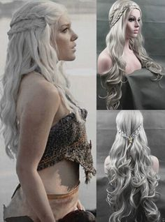 Daenerys Targaryen Dragon Princess Game of Thrones Braids Gray cosplay wig