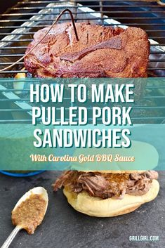 This is a full proof pulled pork recipe made on the Big Green Egg, paired with my signature Carolina Gold Mustard Sauce and finished on fluffy Martin's Sandwich Potato Rolls. Pork Sandwich, Sandwiches, Egg Recipes, Sauce Recipes, Making Pulled Pork, Pulled Pork Sliders, Pulled Pork Recipes, Grilling Tips, Roasted Garlic