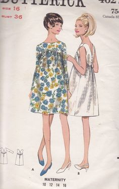Vintage Maternity Dress Sewing Pattern - Size 16 - Free shipping to the US. $12,00, via Etsy.