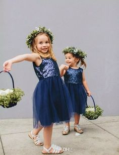 Customized Soft Navy Bridesmaid Dresses Sparkly Scoop Sequins Navy Flower Girl Dress - New Site Sequin Flower Girl Dress, Cheap Flower Girl Dresses, Girls Pageant Dresses, Flower Girls, Girls Formal Dresses, Prom Dresses, Dress Prom, Navy Blue Bridesmaid Dresses, Bridesmaid Gowns