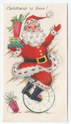 Vintage Greeting Card Christmas Santa Claus Riding Unicycle