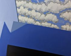"""Artwork titled """"Komposition in Blau mit Wolken"""", size 100x80cm, July 2019, acrylic on ecological canvas stretched over European wood, price 3500€ or 3850 Sfr, contact: mail@sigenagels.com."""