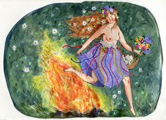Blessed Beltane // Happy May Day! Watercolor, in my spring sketchbook. Phoebe Wahl Adorn yourself with flowers! Jump over fires and be merry! Beltane, Fru Fru, May Days, Sacred Feminine, Cute Illustration, Art Illustrations, Conte, Samhain, Artsy