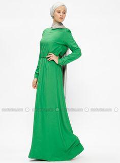 39aafe41b3d8 Green Crew neck Unlined Viscose Dresses ApplelineShop Modest dresses,  Modest Evening Dresses, Hijab Scrafs