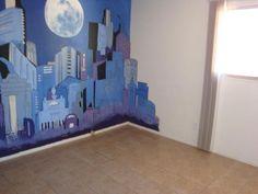 DIY Painted Skyline with Shelving Nursery Pinterest Wall