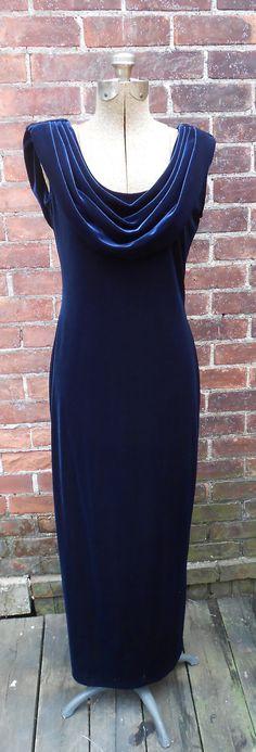 80s Navy Velvet Column Gown Vintage Womens 8 by MDMvintage on Etsy, $84.00