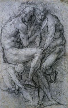 Jacopo Pontormo, Two Male Figures Looking in a Mirror and a Putto, 1518