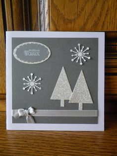 Carte de vœux stampin up Homemade Christmas Cards, Christmas Tree Cards, Christmas Hacks, Large Christmas Baubles, Christmas Decorations To Make, Xmas Cards, Christmas Crafts, Karten Diy, Minecraft Christmas
