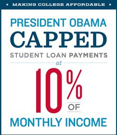 President Obama Capped Student Loan Payments at 10% of Monthly Income.