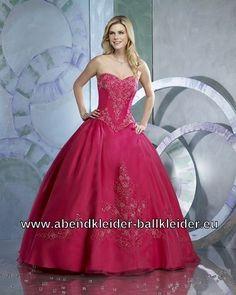 Abendkleid Ballkleid Online in Fuchsia Bodenlang