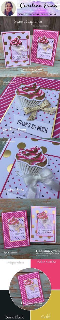 Sweet Cupcake - Crazy Crafters Blog Hop Casing Billie Moan | Carolina Evans - Stampin' Up! Demonstrator Melbourne Australia #carolinaevans #studioevans #stampinup #sweetcupcake #billiemoan #annualcatalog2017