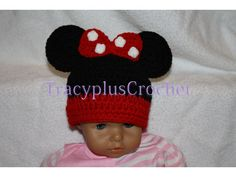 Crochet Minnie Mouse inspired beanie. Baby to by TracyplusCrochet, $14.00