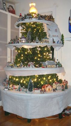 Our Christmas village tree. First time doing this.