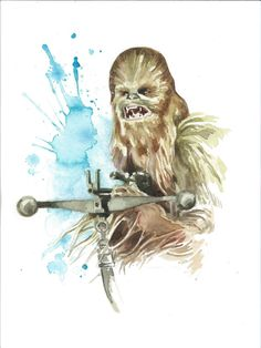 Star Wars Watercolor Art Print Chewbacca by JAWart on Etsy. Star Wars Quotes, Star Wars Humor, Star Wars Fan Art, Chewbacca, Ewok, Star Wars Zeichnungen, Baby Poster, Star Wars Drawings, Star Wars Pictures
