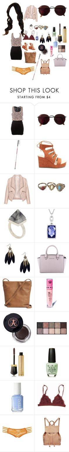 """Sasha Hale"" by samtiritilli on Polyvore featuring Ray-Ban, Zizzi, Kelly Wearstler, MICHAEL Michael Kors, BAGGU, Jeffree Star, Anastasia Beverly Hills, By Terry, Christian Louboutin and Essie"