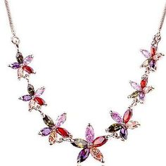 Rose Gold Multi Coloured Crystal Fashion Jewellery Set Neckace And Stud Earrings (£7.99 For The Set!)