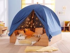 Maybe we don't have enough room for a separate sensory room but what about something better? A snoozlen room in a tent! Easy access in class and we could lock it using locks on the zippers! Kids Indoor Playhouse, Build A Playhouse, Indoor Tents, Zipper Bedding, Sensory Rooms, Kid Spaces, Play Houses, Interior Design Living Room, Kids Bedroom