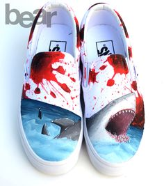 Custom Vans Hand Painted Shoes - Great White Shark Blood Spatter by BearGallery… Custom Vans Shoes, Custom Painted Shoes, Painted Vans, Painted Canvas Shoes, Painted Sneakers, Hand Painted Shoes, On Shoes, Me Too Shoes, Wide Shoes